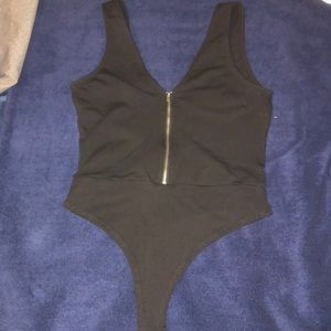 Tobi Black Zip up Bodysuit